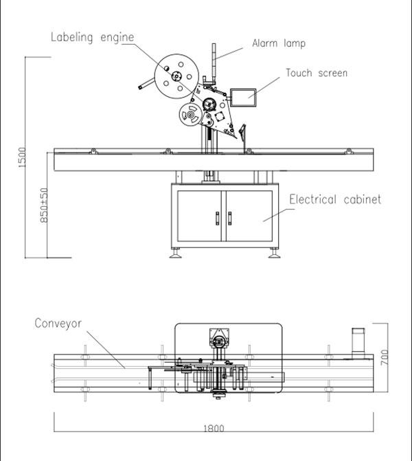 Automatisk platt självhäftande etikettmaskin